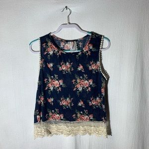 MAUVE Navy and Floral Sleeveless Top Size Large